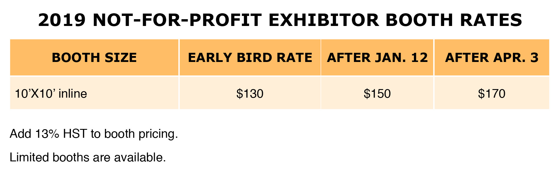 2019 Charity non-profit Booth Rates